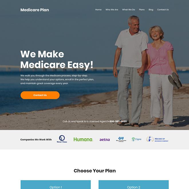 clean medicare supplement insurance plan website design Medicare example