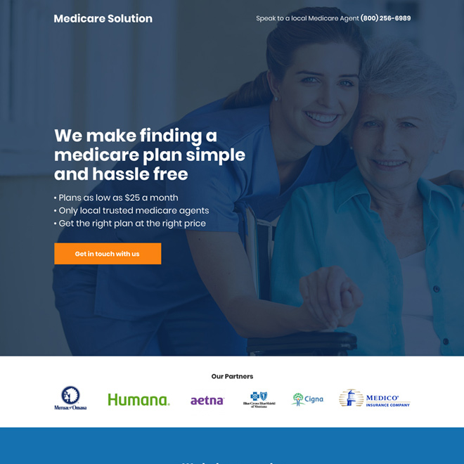 medicare solution call to action landing page design Medicare example