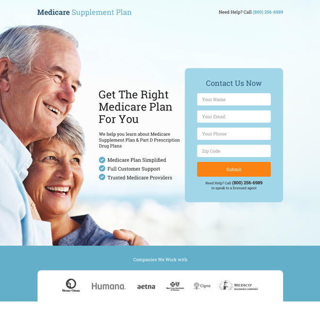 medicare supplement plan lead capturing landing page Medicare example