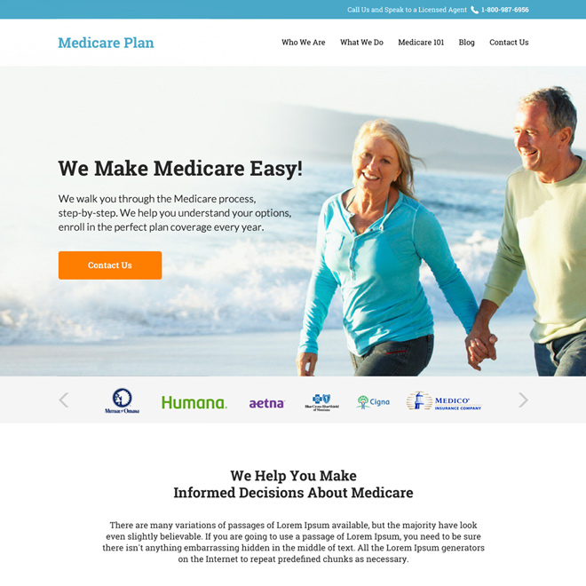 medicare supplement insurance responsive website design Medicare example