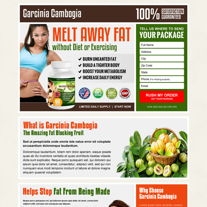 garcinia cambogia converting landing page design for effective weight loss Weight Loss example
