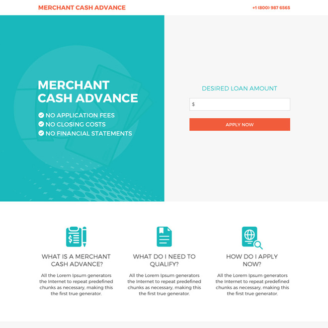 merchant cash advance call to action clean landing page Business Loan example