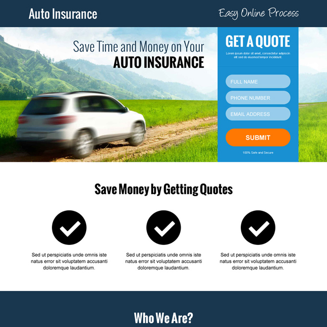 minimal auto insurance converting responsive landing page design Auto Insurance example