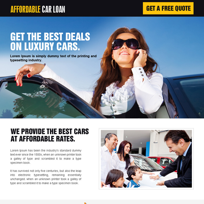 minimal luxury car loan landing page design Auto Financing example