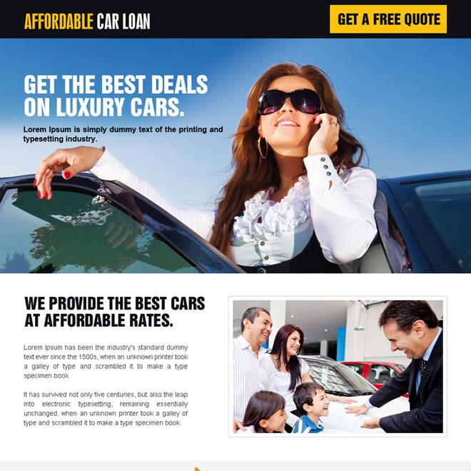 minimal luxury car loan landing page design Auto Financing example