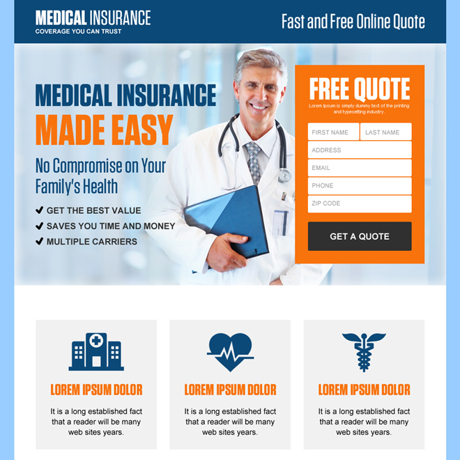 professional medical insurance free quote landing page design Health Insurance example
