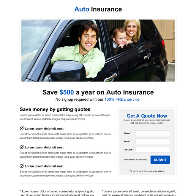 minimal and simple auto insurance lead capture landing page design Auto Insurance example