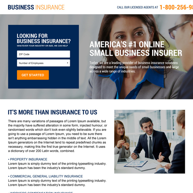 business insurance mini landing page design Business Insurance example