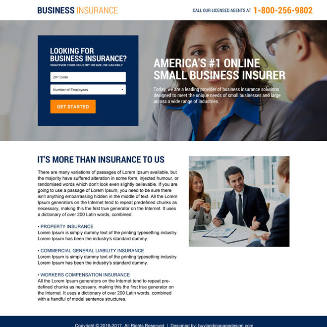 minimal business insurance responsive landing page Business Insurance example