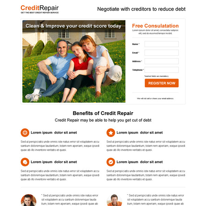 minimal looking credit repair high converting squeeze page design Credit Repair example