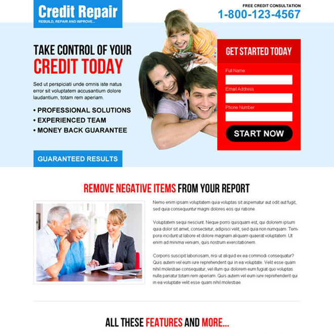 take control of your credit today small lead capture converting landing page design Credit Repair example