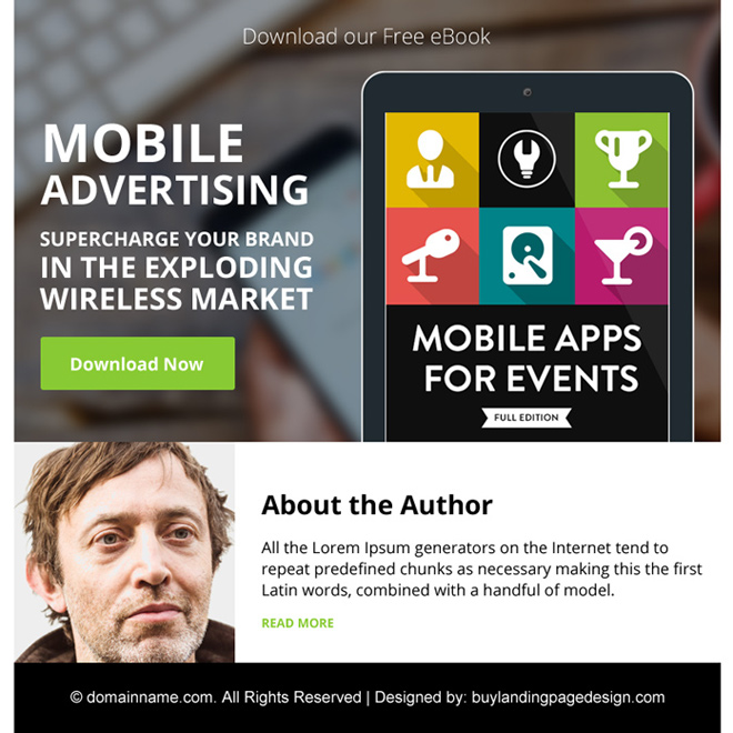 mobile advertising free ebook ppv landing page design E Book example