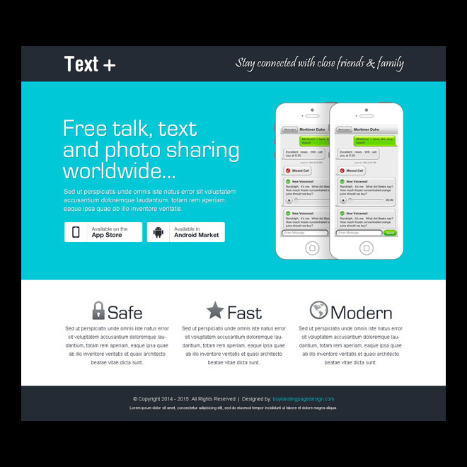 mobile application responsive landing page design templates