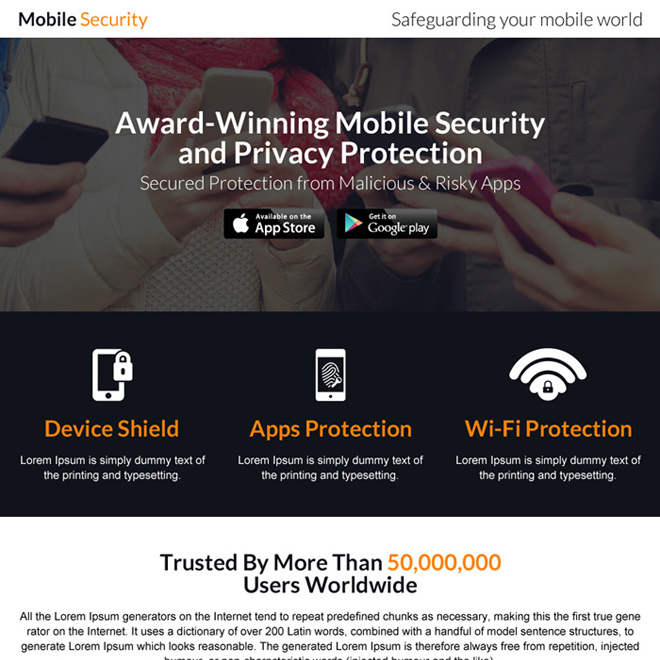 mobile security software landing page design Software example