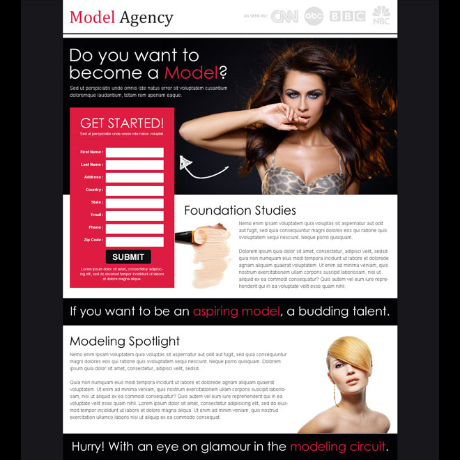 want to become a model attractive and appealing splash page design template Fashion and Modeling example