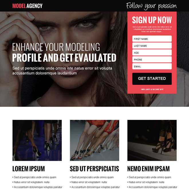 modelling agency sign up lead gen landing page design template Fashion and Modeling example