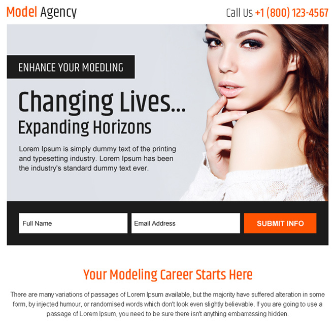 modelling agency sign up generating ppv landing page Fashion and Modeling example