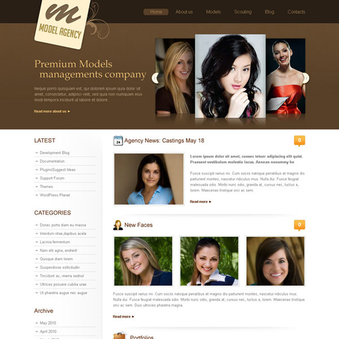 modeling agency website template design psd Website Template PSD example