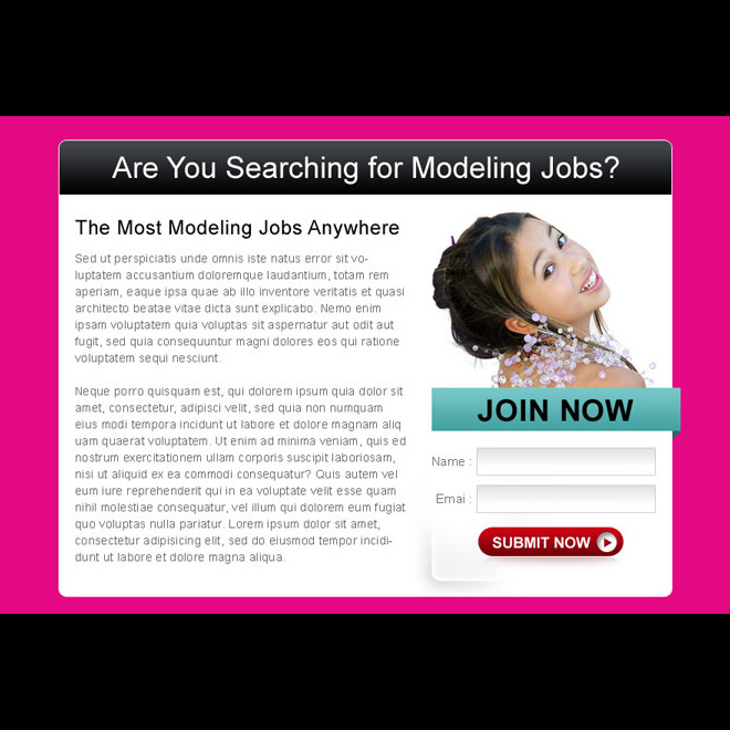 modeling jobs lead capture effective ppv lander design template Fashion and Modeling example