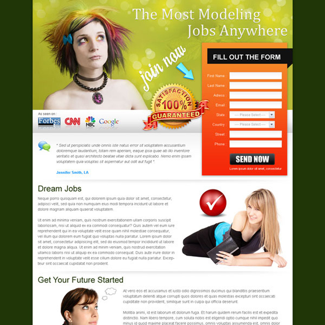 best landing page design for modeling job lead capture Fashion and Modeling example