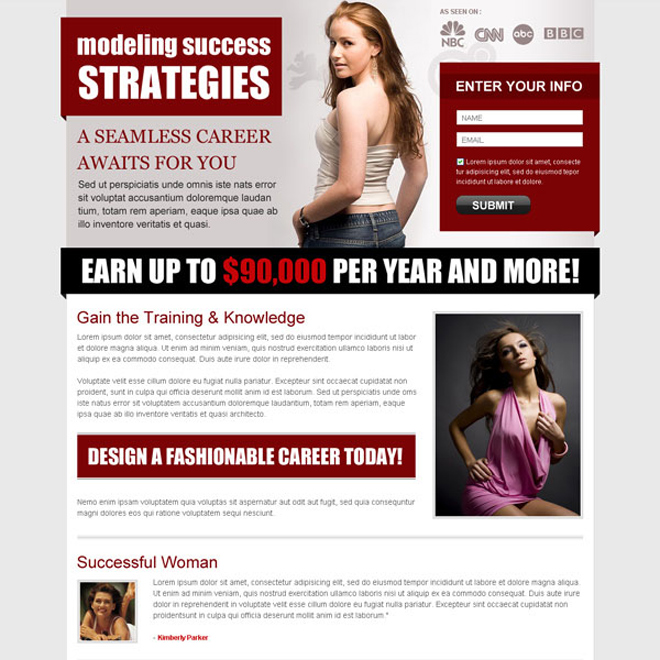 modeling success strategies clean lead capture page design Fashion and Modeling example