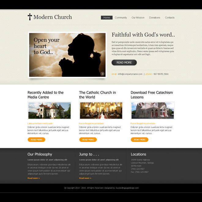 modern church clean and converting website template design psd for creating your website Website Template PSD example