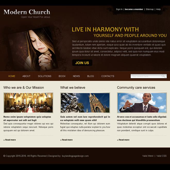 modern church website template design psd for sale Website Template PSD example