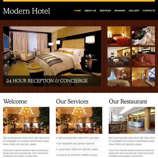 modern hotel converting and attractive html website template Hotel and Restaurant example