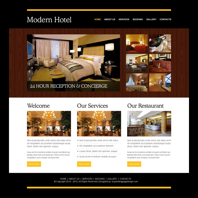 modern hotel appealing website template design psd Website Template PSD example