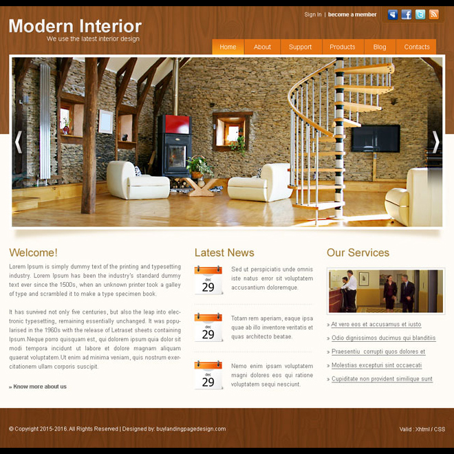 modern interior website template design psd for sale Website Template PSD example