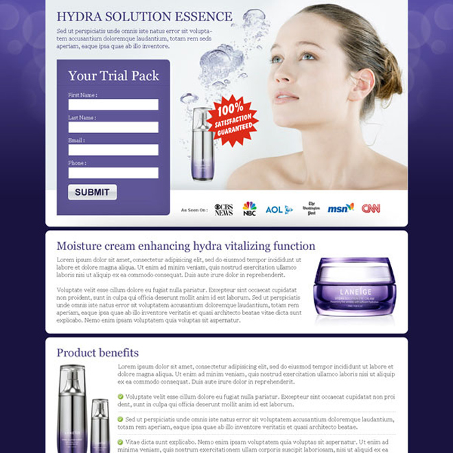 beauty product cream lead capture landing page design Beauty Product example