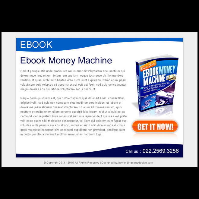 ebook money machine strong and attractive ppv landing page design E Book example