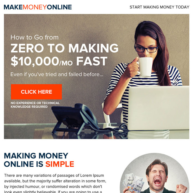 make money online eye-catching ppv landing page Make Money Online example