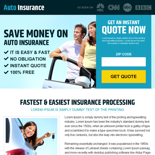 money saving auto insurance pay per view landing page design Auto Insurance example