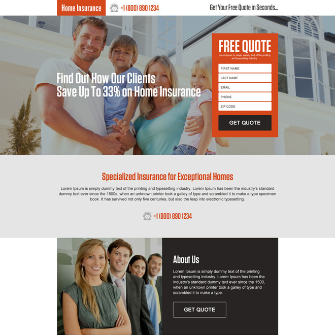 responsive home insurance landing page design template Home Insurance example