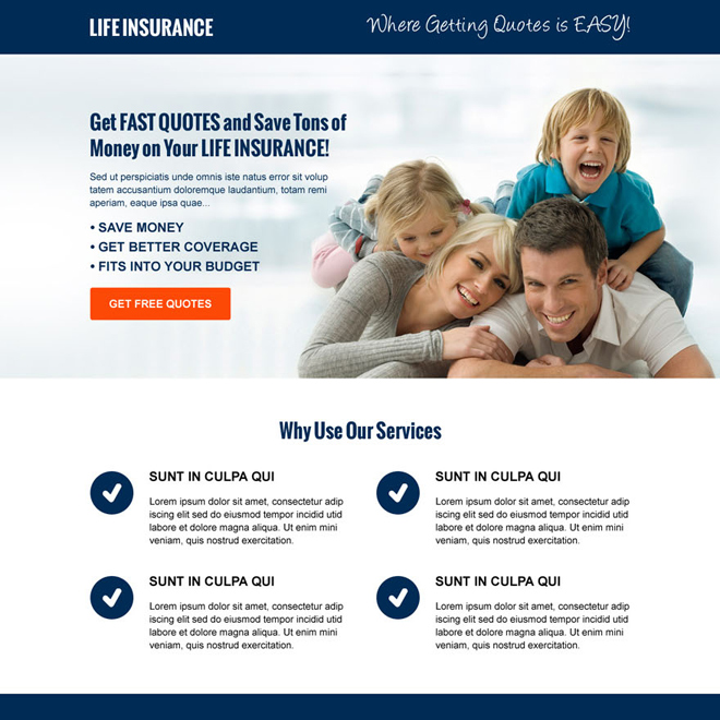 money saving life insurance free quote cta and lead capture responsive landing page design template Life Insurance example