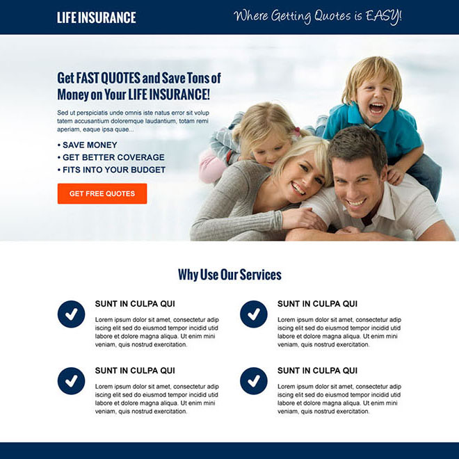 life insurance free quote cta and lead capture responsive landing page design Life Insurance example