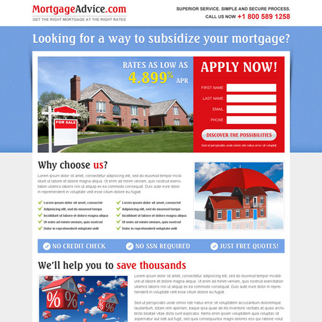 beautiful and creative highest converting mortgage landing page design Mortgage example