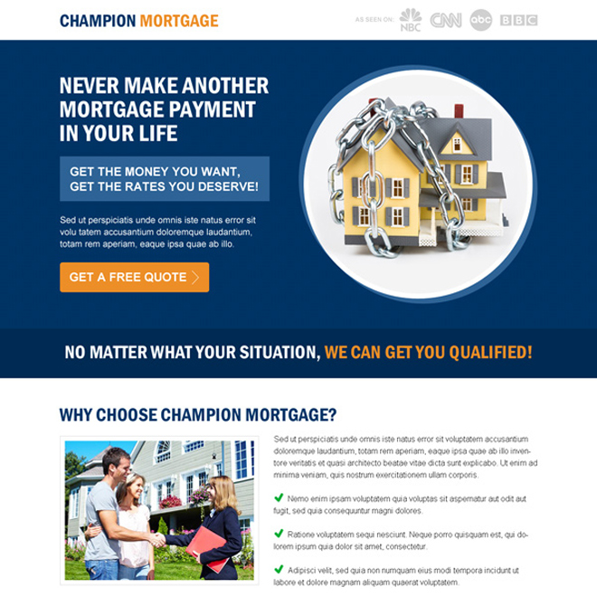 get the best rates you deserve for your mortgage call to action splash page design Mortgage example