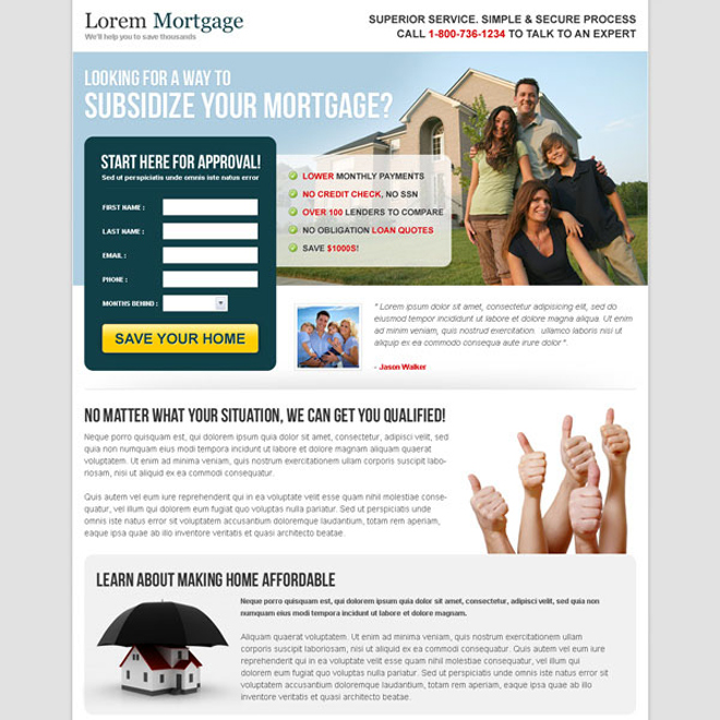 subsidized your mortgage most converting mortgage landing page design template Mortgage example