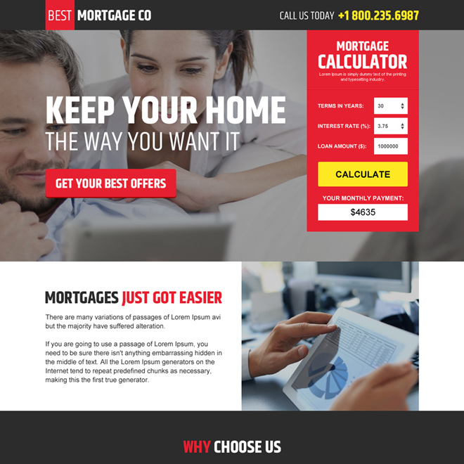 modern mortgage landing page design with mortgage calculator Mortgage example