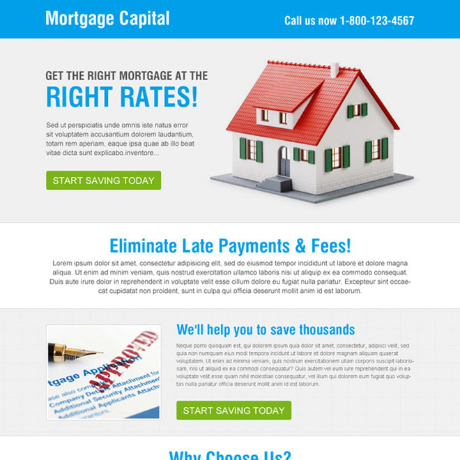 right mortgage at the right rates call to action converting squeeze page design Mortgage example