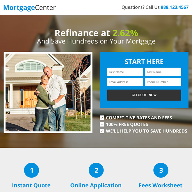 clean mortgage center lead capturing landing page Mortgage example