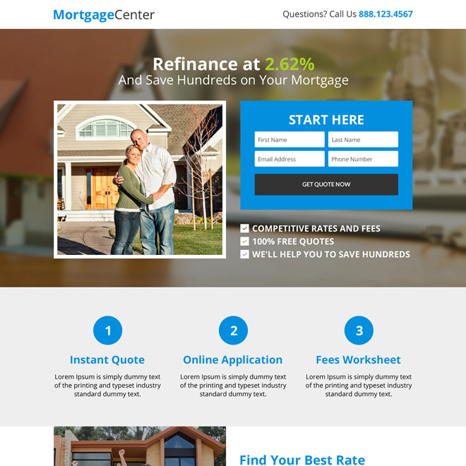 mortgage center responsive lead gen landing page design Mortgage example
