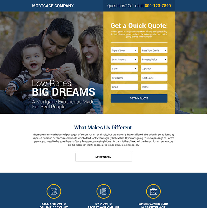 mortgage company lead capture responsive landing page design Mortgage example