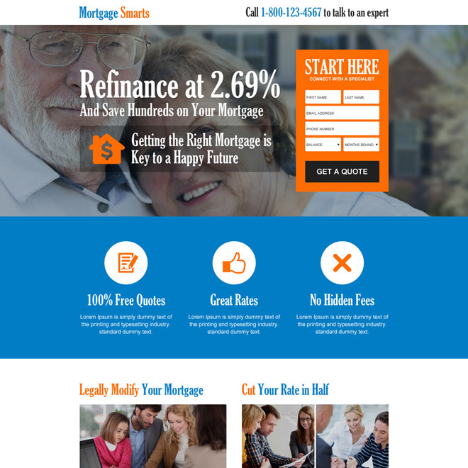 responsive mortgage consultant landing page design Mortgage example