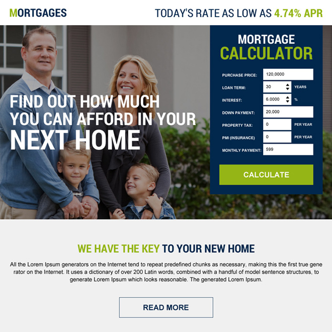 mortgage financing calculator lead generating landing page Mortgage example