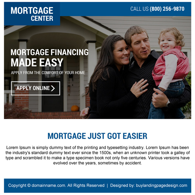 mortgage financing online application ppv landing page design Mortgage example