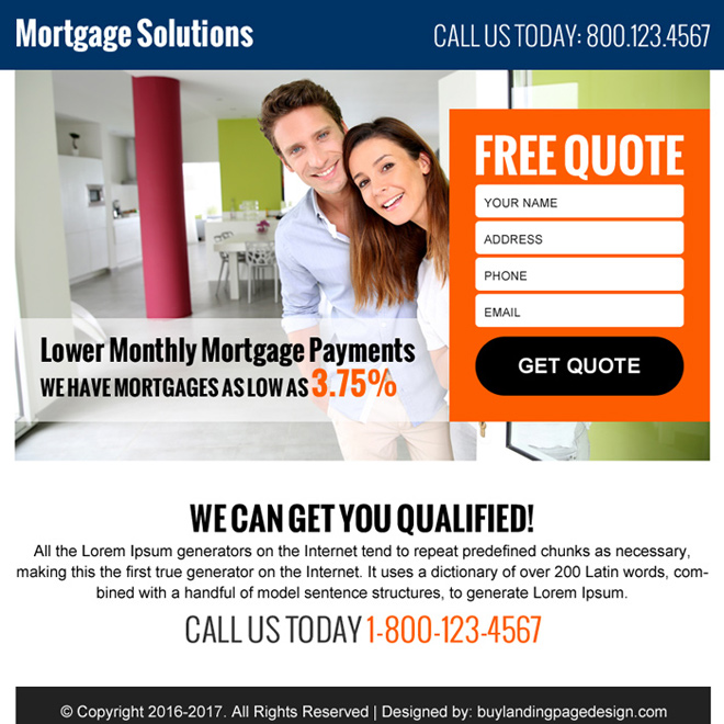 mortgage free quote ppv landing page design Mortgage example