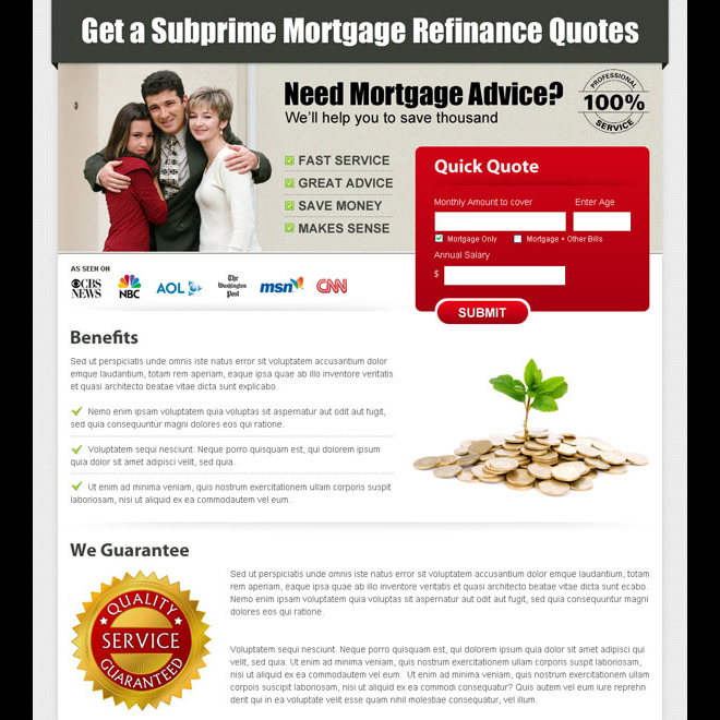 mortgage business lead capture landing page design Mortgage example
